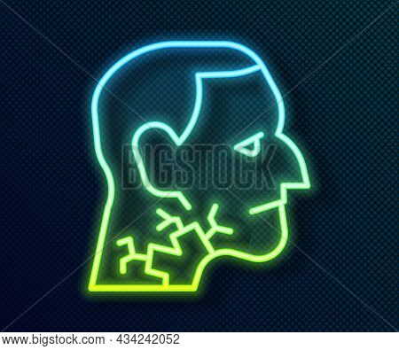 Glowing Neon Line Throat Cancer Icon Isolated On Black Background. Laryngeal Cancer. Vector