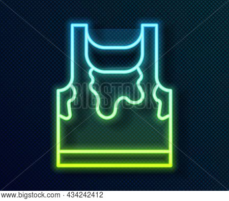 Glowing Neon Line Sweaty Sleeveless Sport T-shirt Icon Isolated On Black Background. Vector