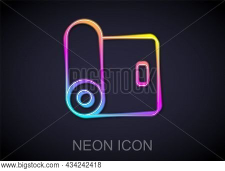 Glowing Neon Line Fitness Mat Roll Icon Isolated On Black Background. Yoga Mat Rolled. Sport Equipme