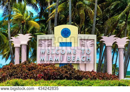 Welcome To Miami Beach Road Sign In A Sunny Day, Miami Beach , Florida