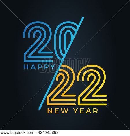 2022. 2022 Text. 2022 Happy New Year. 2022 Vector Design Illustration Isolated On Black Background.