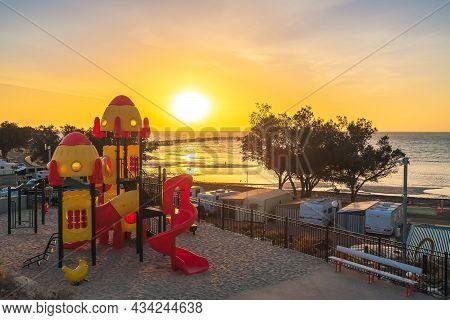 Moonta Bay, South Australia - October 26, 2019: Kids Playground In Moonta Bay Caravan Park At Sunset