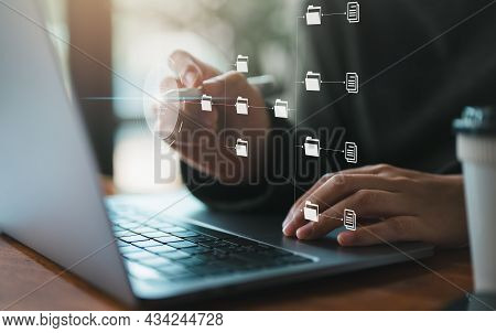 It Staff Working With Document Management System (dms), Online Documentation Database And Process Au