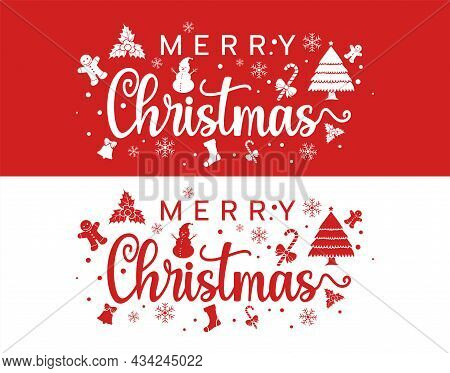 Christmas And New Year Typographical On Xmas Background With Winter Landscape With Snowflakes, Light