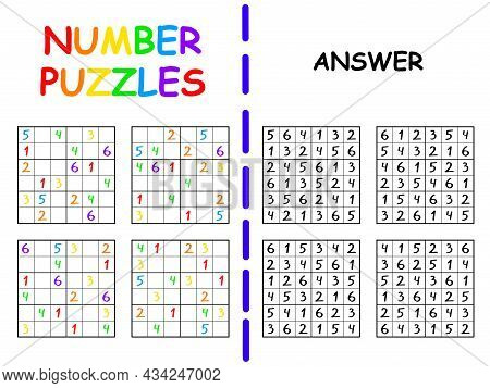 Simple 6 By 6 Sudoku Set With An Answer For Kids Vector Illustration. Funny Colorful Number Puzzle P