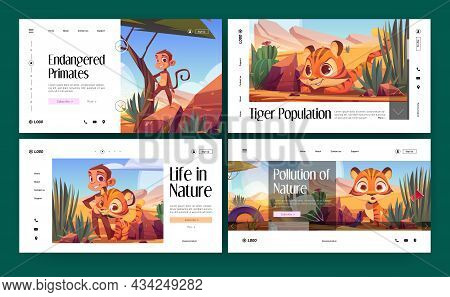 Save Nature Cartoon Landing Pages, Wild African Animals Tiger Cub And Monkey In Desert Natural Lands