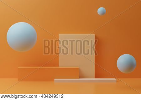 Blue Bubbles And Colorful Square Podium On Orange Background. 3d Render With Geometric Figures, Mini