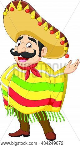 Vector Illustration Of Cartoon Funny Mexican Man Presenting