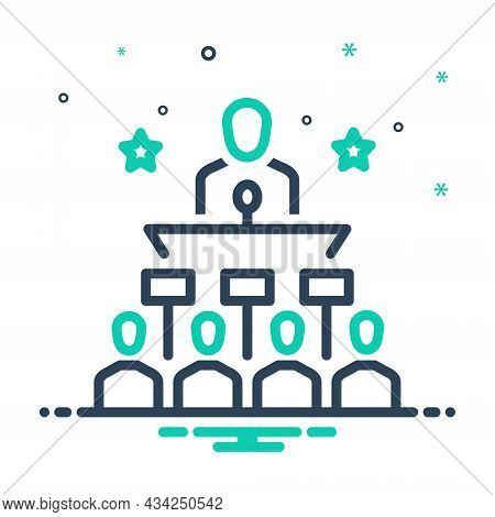 Mix Icon For Politically Publicly Governmentally Leadership Speech People Microphone Audience Spokes