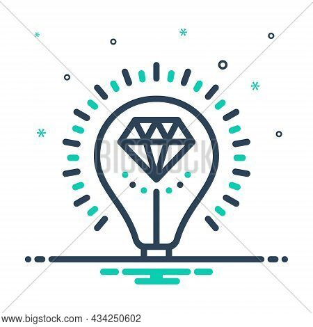 Mix Icon For Brilliant Bright Glossy Shining Luminous Sparkling Diamond Valuable Expensive Talented