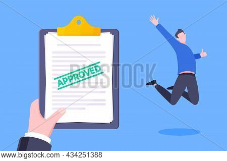 Job Or University Acceptance Approve Letter With Paper Sheets Document. Employment Offer, College Ac
