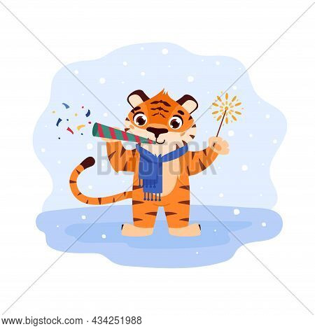 Cheerful Tiger With Confetti And Sparkler. The Symbol Of The Chinese New Year. Cartoon Animal. Easte
