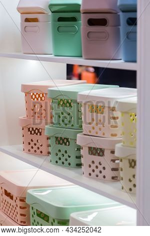 Organization Of Home Space And Comfort, Boxes Containers Baskets For Wardrobe Closets, Household Goo