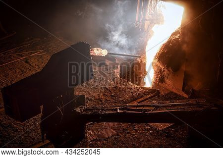 Automatic Sampler. The Process Of Taking A Sample Of Liquid Metal In A Steelmaking Furnace.