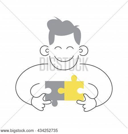 Puzzle Man Connecting Puzzle Pieces Problem And Solving Concept