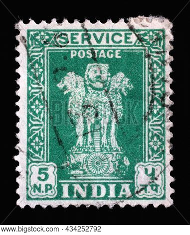 ZAGREB, CROATIA - SEPTEMBER 13, 2014: Stamp printed in India shows Lion Capital of Ashoka Pillar from Sarnath, National Emblem of India, circa 1957