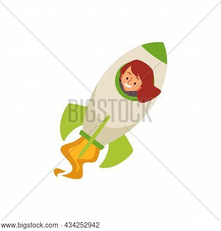 Cute Child Girl Pilot Of Space Rocket Flat Cartoon Vector Illustration Isolated.