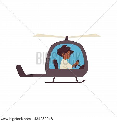Cute Child Boy Flying Helicopter, Flat Cartoon Vector Illustration Isolated.