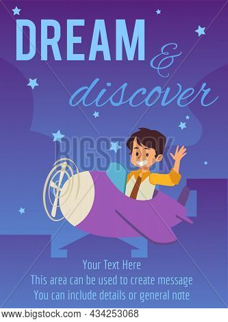 Poster Or Card With Child Boy Flying On Plane Flat Vector Illustration.