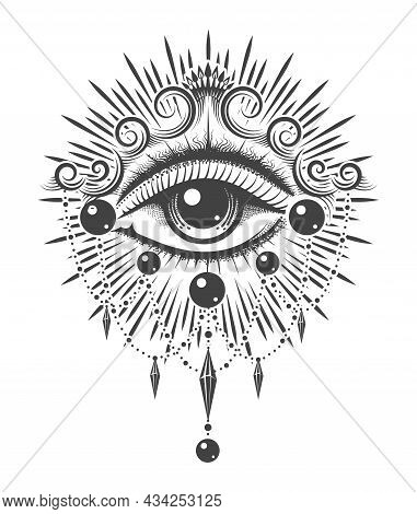 All Seeing Eye Esoteric Monochrome Vertical Tattoo
