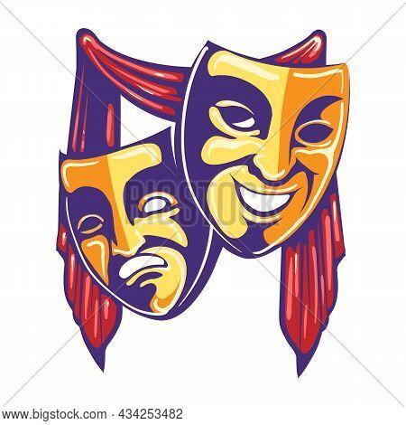 Theater Drama And Comedy Masks Retro Emblem