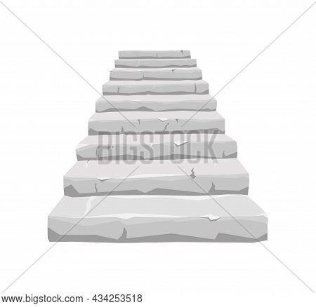 Old Stone Staircase On A White Isolated Background. For The House And The Old Castle. Vector Cartoon