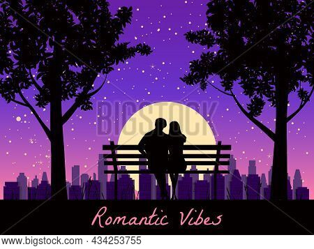 Romantic Vibes Couple Lovers On Bench In Park, Under Trees. Sunset, Night, Stars. Vector Happy Valen