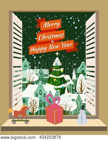 Merry Christmas Window Living Room, Interior Holiday. House Room Decorated Christmas Tree Retro Toys