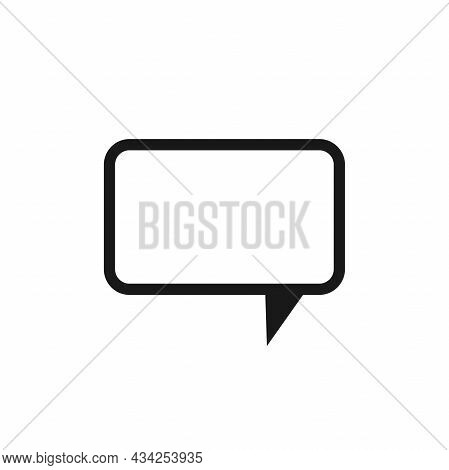 Black Chat Speech Bubble Isolated On White Background. Vector Flat Icon. Tint, Hint, Quote, Citation