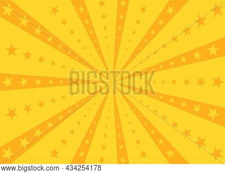 Sunlight Rays Background. Orange Color Burst Background With Shining Stars. Vector Illustration. Sun