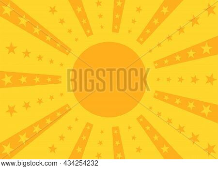 Sunlight Rays Background. Orange And Yellow Color Burst With Shining Stars And Text Frame. Vector Il