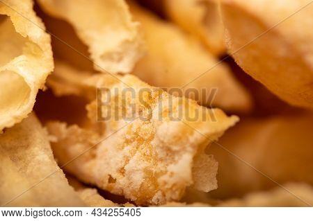 Fried Breadsticks With Salt, Close-up, Selective Focus