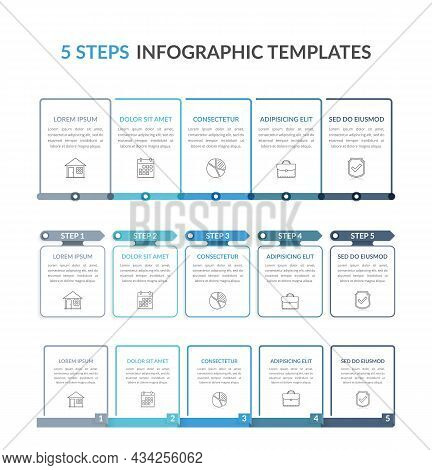 Three Infographic Templates With Five Steps, Process Charts, Workflow, Vector Eps10 Illustration