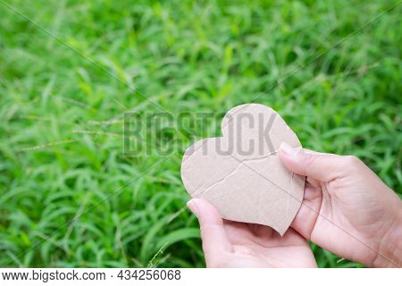 Hand Holding Paper Heart Shape On Blur Green Grass. Top View And Free Space. Sweet Couple Love Valen