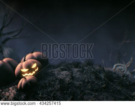 Halloween Pumpkins In Scary Dark Night Background With Copy Space, 3d Rendering.