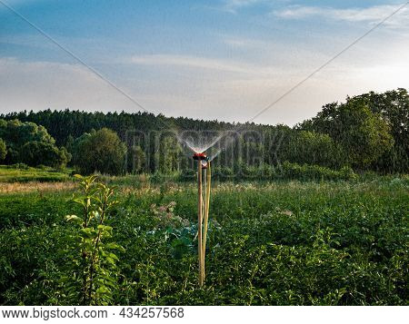 Irrigation System For Watering Water In Agriculture. Irrigation Of A Farm Field. Splashing Water. Dr