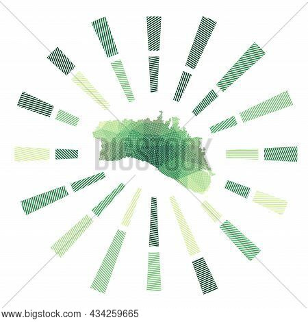 Minorca Sunburst. Low Poly Striped Rays And Map Of The Island. Modern Vector Illustration.