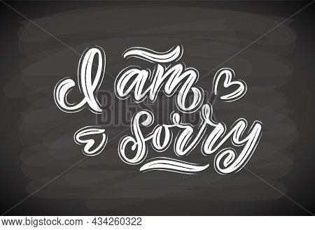 Hand Sketched I Am Sorry Lettering Typography. Handwritten Inspirational Quote I Am Sorry. Hand Draw
