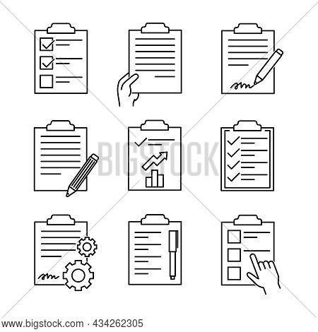 Set Of Clipboard Chek Icons. Flat Pictogram For Web. Line Stroke. Simple Pad Symbol Isolated On Whit