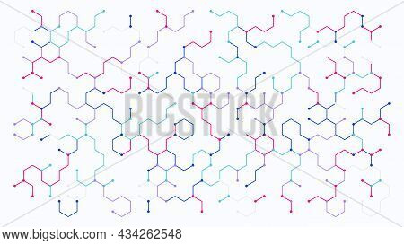 Geometric Abstract Hexagon Pattern Dot Line Connection Background