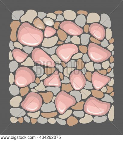 Vector Background With Colored Stones. Pebbles, Stones, Road. Stony Background For Printing On Cards