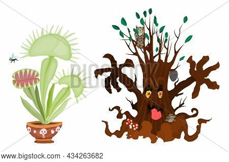 Dangerous Plants Halloween Party Illustration New Vector