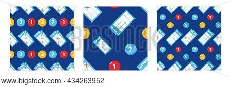 Set, Collection Of Three Vector Seamless Pattern Background With Lottery Tickets And Lottery Numbere