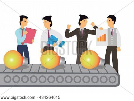 Conveyor Belt Machine Of Ideas Light Bulb With Businessmen. Concept Of Financial Earning Income From