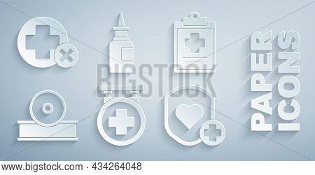 Set Hospital Signboard, Medical Clipboard With Clinical Record, Otolaryngological Head Reflector, Sh