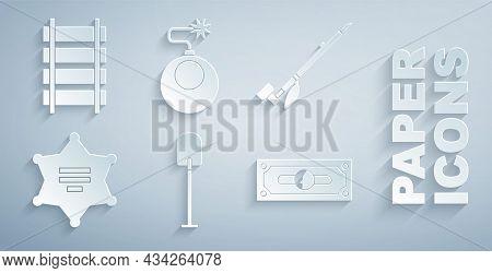 Set Shovel, Native American Indian Smoking Pipe, Hexagram Sheriff, Stacks Paper Money Cash, Bomb Rea