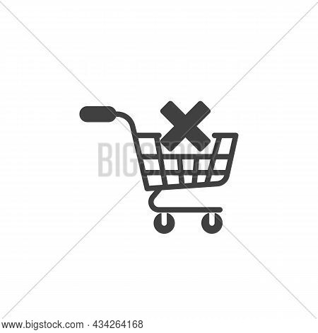 Clear Shopping Cart Vector Icon. Filled Flat Sign For Mobile Concept And Web Design. Shopping Cart W