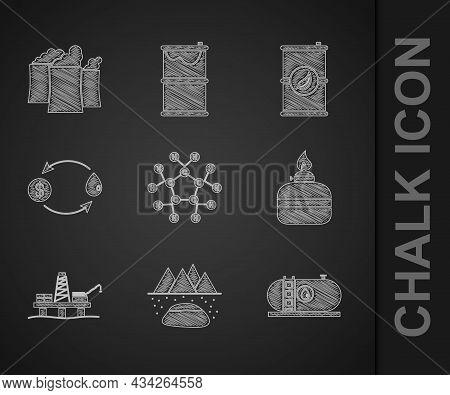 Set Molecule Oil, Oilfield, Industrial Factory Building, Alcohol Spirit Burner, Platform The Sea, Ex
