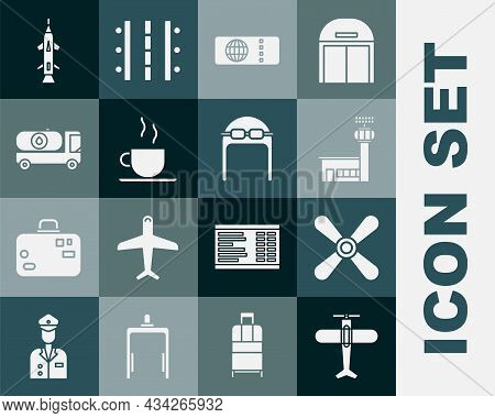 Set Plane, Propeller, Airport Control Tower, Airline Ticket, Coffee Cup, Fuel Tanker Truck, Rocket A