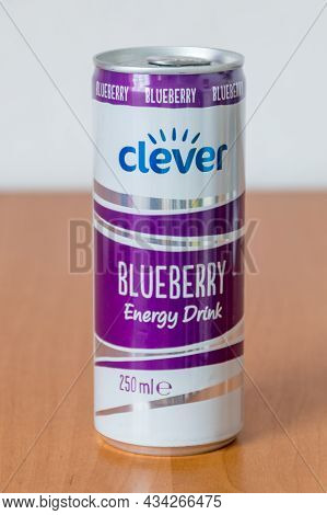 Deblin, Poland - June 8, 2021: Can Of Clever Blueberry Energy Drink.